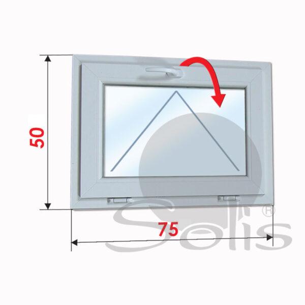 Еднокрил пвц прозорец 5-камерен 75х50см